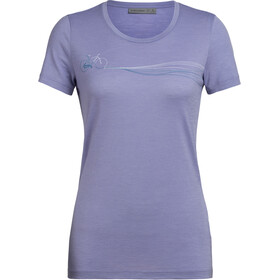 Icebreaker Tech Lite Cadence Paths Low Crewe T-shirt Dames, orchid